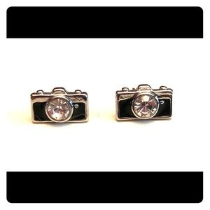 Fossil Stud Earrings - Black, Silver Camera Design